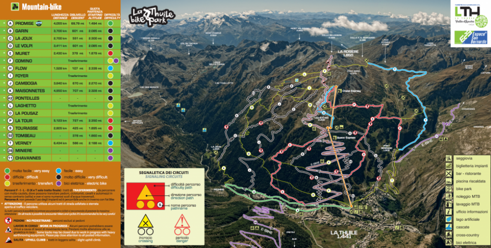 La Thuile mountain bike trail map