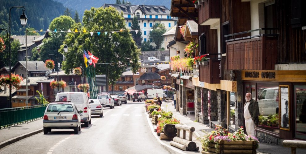 Street view of Morzine's Shops