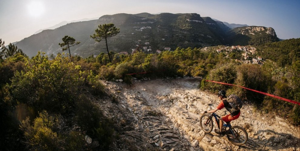 Riding a rocky trail in Finale Ligure