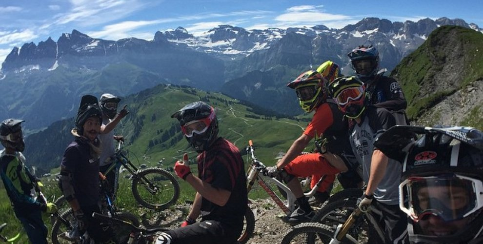 Riders Relaxing at the top of Morgins
