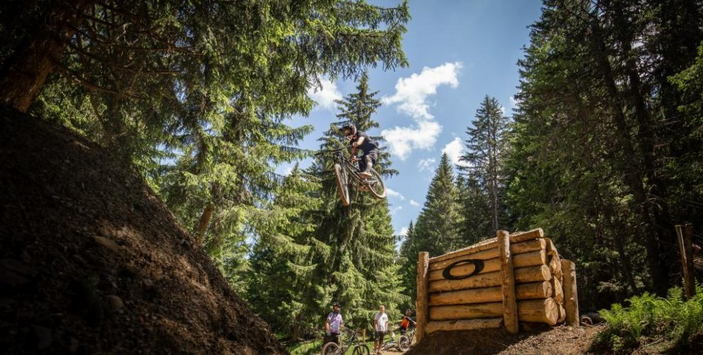 Sean Jumping the Road gap in Morzine
