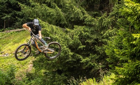 Throwing a big whip over on the reboul jam jumps in Chatel
