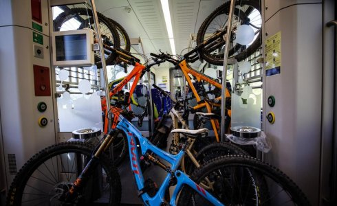 Bikes on the train portes du soleil champery monthey