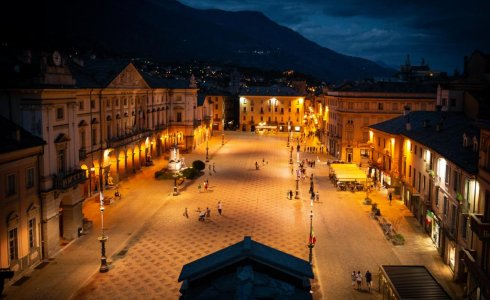 Aosta town square bars and cafes