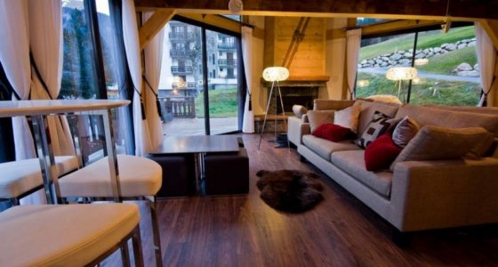 Chalet Ice luxury accommodation in Morzine front room area