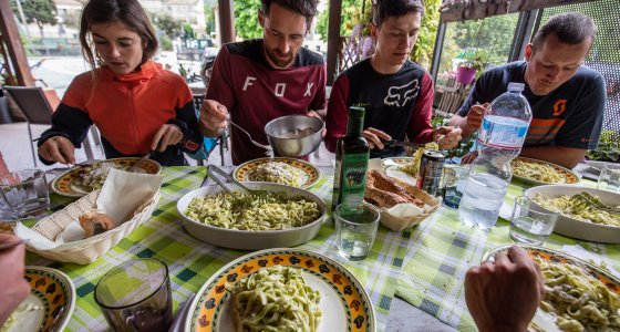 coach lunch mountain bike camp pasta osteria